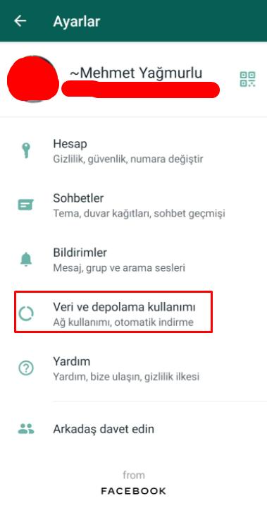 whatsapp otomatik indirme kapatma 3