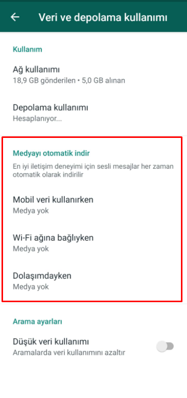whatsapp otomatik indirme kapatma 4